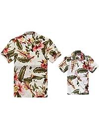 beade48e2 Padre e Hijo a Juego Traje Hawaiano de Luau Camisa de Hombre Camisa de niño  Corto