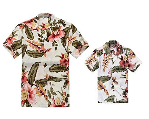 Padre-e-hijo-a-juego-Traje-hawaiano-de-Luau-Camisa-de-hombre-Camisa-de-nio-Corto-Crema-Rafelsia-XL-2