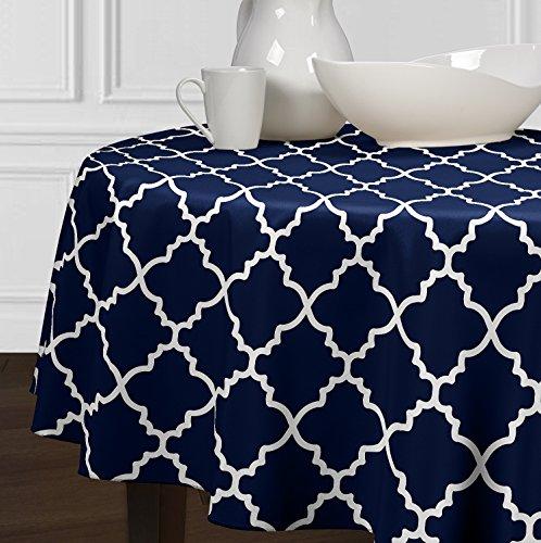 5 Stück-sammlung-tabelle (Einer luxehome Navy Blau und Weiß Modernes, Tischdecken Esszimmer Küche Rund 182,9cm)
