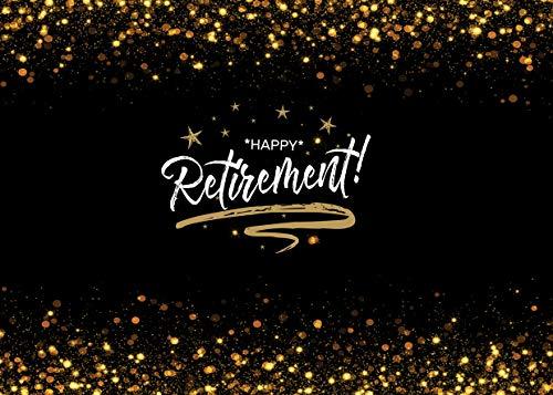 AIIKES 7x5FT/2,1Mx1,5M Glücklich Pensionierung Fotografie Hintergrund Offiziell Glückwunsch Schwarz Fotografie Hintergrund Vinyl Ruhestand Partei Dekorations Banner Hintergrund 11-465