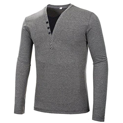 BOMOVO Herren Langarmshirt Gefälschte Zwei V-Ausschnitt T-shirt - Slim Fit Dark Grau