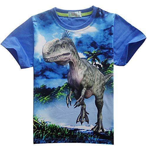 Jungen Kurzarm-dinosaurier (Jungen Dinosaurier 3D gedruckt Pullover Kurzarm T-Shirt Kinder Jogging Trainingsanzüge Kleidung Jumper Hip Hop Streetwear Tops)
