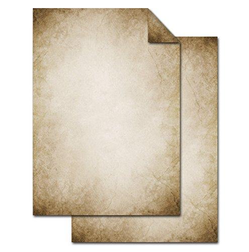 25 Blatt Briefpapier VINTAGE NOSTALGIE DIN A4 altes Papier braun beige natur Druckerpapier beidseitig bedruckt 100g Schreibpapier Motiv-Papier Brief-Bogen marmoriert