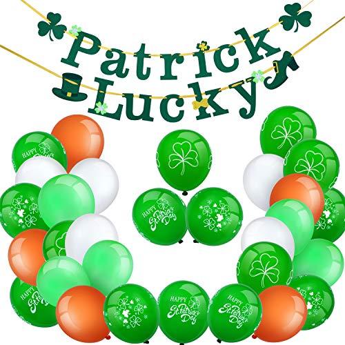 Chuangdi St. Patrick's Day Ballon Dekoration Set, Inklusive 2 Stück Irischen Glückliche Banner, 15 Grüne Shamrock Ballons und 15 Farbige Latex Ballons