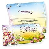 TATMOTIVE 05-0102-0265-02020 Tatmotive FLORENTINA Einladungskarten Geburtstag (20 Sets) selbst bedruckbar, mit Umschlag, für Frauen