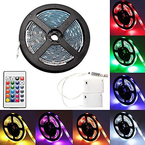 4m Luces de Tira LED con 24-tecla de control remoto y caja de batería, RGB 5050 Impermeable multicolor iluminación para decoración de interiores y interiores de Navidad