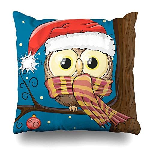 KJDFH Kissenbezug,Throw Pillows Covers Hat Cute Cartoon Owl Santa Glass On Wildlife Holidays Face Cushion Case Pillowcase Home Sofa Couch Square Size 18 x 18 Inches Pillowslips (Telefon Santa C)