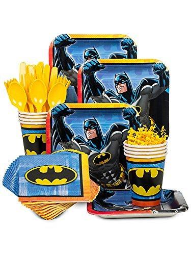 BBKIT794 Batman Birthday Party Standard Tableware Kit for 8 Guests ()