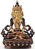 BUDDHAFIGUREN Estatua de Buda - Amitayus 15 cm de alto - Bronce, parcialmente chapado en oro