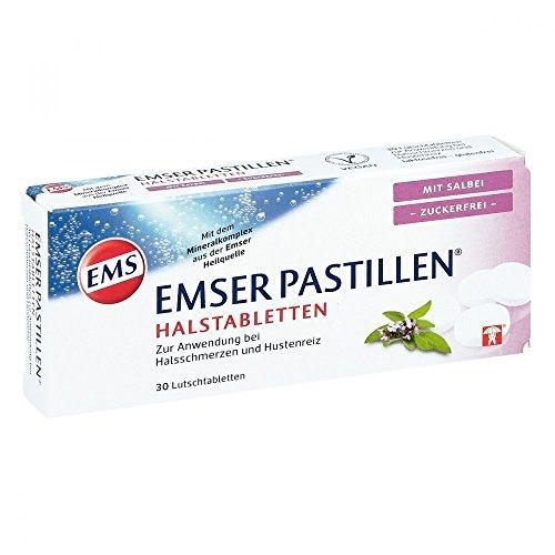 Emser Pastillen Halstabletten mit Salbei, zuckerfrei - Bei Halsschmerzen, Husten und starker Stimmbelastung - 30 Stück