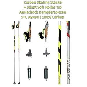STC Avanti Langlaufstock Skating Rollski Skiroller Stöcke Nordic Bladingstöcke Skike 170 cm 100% Carbon mit Silent Soft Roller Tip Antischockt Dämpferspitzen