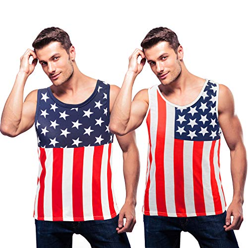 2 Stücke Männer Amerikanische Flagge Tank Top Amerikanische Unabhängigkeit Patriotisch Shirt für den 4. Juli (M)
