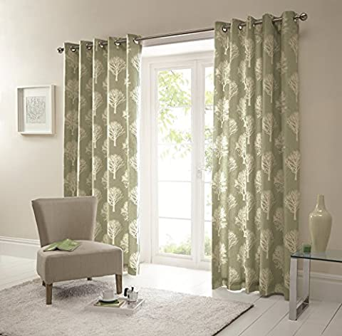 One pair of 'Woodland Trees' Eyelet Curtains in Green, Size: 90 x 72