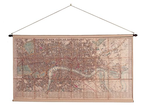 Landkarte London historische Karte Stadtplan Rollkarte Antik-Stil nach Cruchley