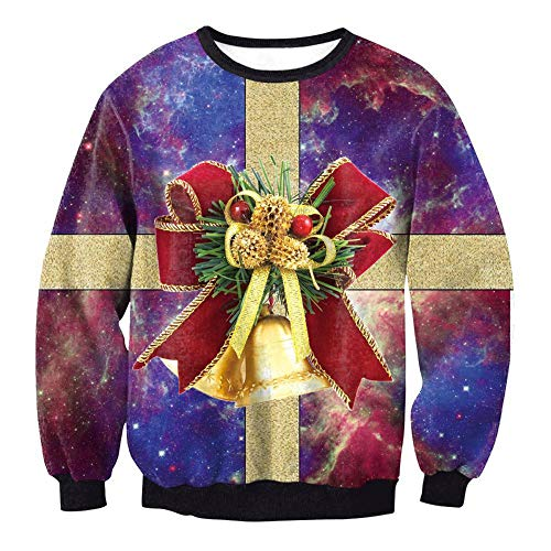 üM Weihnachten Winter Gesetzt Kopf Sweatshirt Drucken Adult Christmas Bell ()
