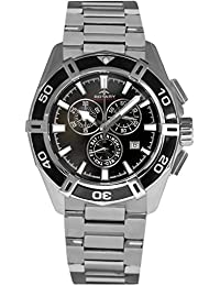 Rotary Men's Quartz Watch with Black Dial Chronograph Display and Silver Stainless Steel Bracelet AGB90089/C/04