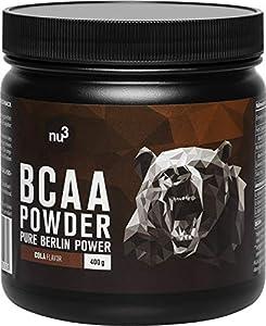 nu3 BCAA Pulver - essentielle Aminosäuren im 2:1:1 Verhältnis - 400g Cola...