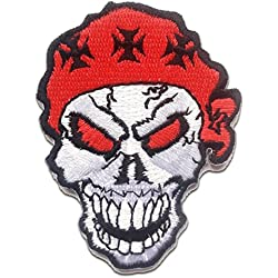 Parches - pirata calavera con Chopper cruz - rojo - 5.5x7.7cm - by catch-the-patch termoadhesivos bordados aplique para ropa