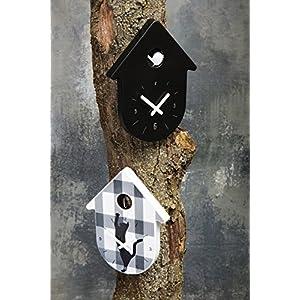 koziol Wanduhr Toc, Schwarz mit weißem Zeiger Orologio da Parete, Nero con Bianco, 27x240x305 cm