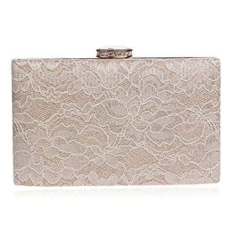 WANGXN Womens Lace Clutches Handbag Lace Square Pillow Bunny Candle Ladies Banquet Party , apricot