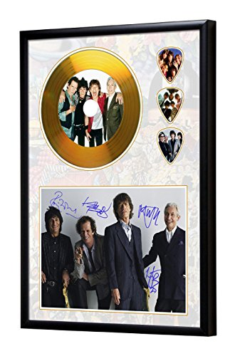 Rolling Stones Gerahmte CD Gold Disc Display & Plektren (A4) (Gerahmt Gold)