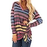 TianWlio Langarm Bluse Damen Frauen Mode Lässige Langarm Spitze Farbe Blockr Langarm V-Ausschnitt T-Shirts Tops Bluse