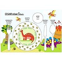 Conjunto de mesa educativo, juego de mesa infantil, tema de dinosaurio, tonos verdes y azules