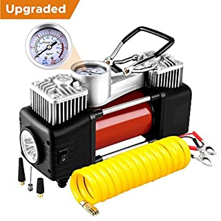 Audew Luftkompressor Doppelzylinder Luftpumpe Reifen Inflator Tragbare Auto Reifenpumpe mit Manometer, LED-Lampe und 3 Meter Verlängerungsrohr für Auto, Fahrrad, Luftmatratze und andere Inflatables
