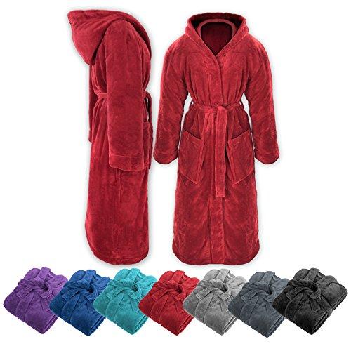 Gräfenstayn Ladies & Mens Soft Fleece Bathrobe with Hood Size S-XXXL with Öko-Tex Standard 100 Flannel Fleece