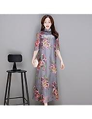 Vestido de verano cheongsam impresion hembra collar retro, midiskirt delgado,L
