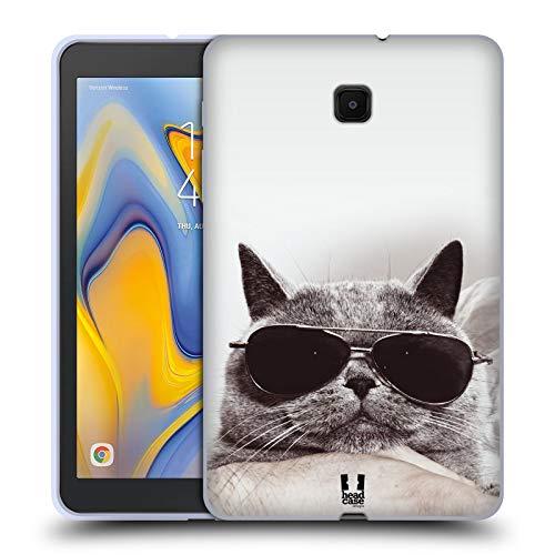 Head Case Designs Graue Britische Katze Mit Sonnenbrille Katzen Soft Gel Huelle kompatibel mit Galaxy Tab A 8.0 (2018)
