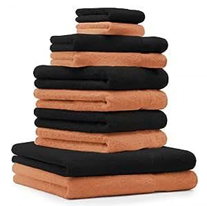 10 tlg. Badetuch Duschtücher Set Handtücher Classic Premium Farbe Orange & Schwarz 100% Baumwolle 2 Seiftücher 2 Gästetücher 4 Handtücher 2 Duschtücher