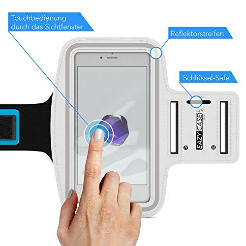 EAZY CASE Sport Armband, Fitness Armband Schweißbeständig Weich für Laufen, Bergsteigen, geeignet für alle Smartphones bis 5.5 Zoll wie Apple iPhone 7 Plus, Samsung Galaxy S7 Edge und mehr in Weiß - 2