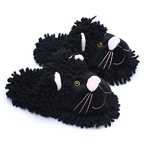 Ofoot Womens Winter Warm Parent-Child Fuzzy Home Slippers Cute Animal Koala Fox Owl Cat Lion Gorilla Bunny,Durable Anti Skid Grippers Rubber Bottom Outsole