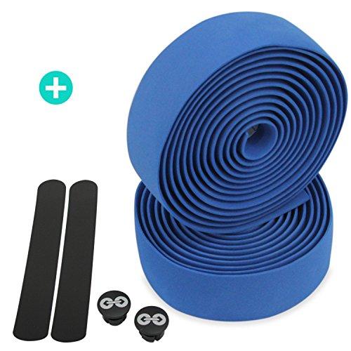 URBAN ZWEIRAD Reißfestes Fahrrad Lenkerband inkl. Endstopfen und Klebestreifen - extra Rutschfest und einfach anzubringen - 200 cm x 3 cm - 3 mm Stärke (Blau, Elastisch) -