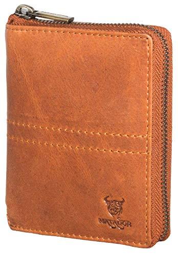 MATADOR Herren/Damen Geldbörse Geldbeutel Portmonnaie Reißverschluss Antik Braun RFID Schutz