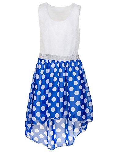 (Fashionteam24 Mädchen festliches Sommerkleid in vielen Farben für Hochzeit Party und Freizeit M361sikbl Silber Kreis Blau Gr. 12/140/146)