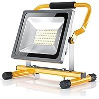 Brandson - 30W LED Proyector de construcción para exteriores | Luz/Foco de trabajo | Work Lamp/Floodlight | Incl. bastidor y asa de transporte | Plegable | 30 W | 2500 lumen