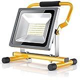BRANDSON - LED Baustrahler 30W | Arbeitsleuchte | Arbeitsscheinwerfer | Bauscheinwerfer | inkl. Standgestell und Tragegriff | zusammenklappbar | 30 Watt / 2500 Lumen
