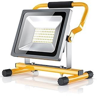 Brandson – 30W LED Proyector de construcción para exteriores – Luz Foco de trabajo – Work Lamp Floodlight – Incl. bastidor y asa de transporte – Plegable – 30 W – 2500 lumen