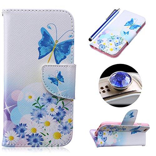 Etche Etui coque pour iPhone 5C,Housse en cuir PU pour iPhone 5C,portefeuille couvercle de la poche pour iPhone 5C,Housse en cuir de cuir flip couverture Wallet téléphone Case avec des fentes de carte papillon tournesol