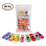 ATPWONZ 60pcs Clips de costura - Craft Clips Milagro Multicolor Abrazadera Plástico Perfecto para bordado/costura/ganchillo etc (Color Mezclado)