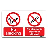 Keine Rauchen/keine Elektronische Zigaretten Schild–Rauchen Bereich Signs By Lichtschalter CO, Vinyl, 150mm x 250mm