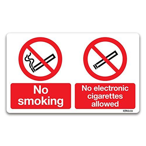 Keine Rauchen/keine Elektronische Zigaretten Schild–Rauchen Bereich Signs By Lichtschalter CO, Vinyl, 100mm x 166mm