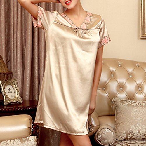 Zhhlaixing Summer Women's Sexy Nightgown Silk Dress Comfortable Sleepwear One size Camel