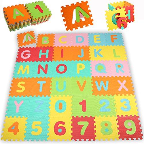 KIDUKU® Puzzle tapis mousse bébé, 86 pièces, tapis de jeu très résistant pour enfants, tapis avec isolation thermique et phonique, contre planchers / sols froids, un tapis pour se démener, tapis pour bébé, un jeu éducatif comprenant les lettres de l'alphabet (A – Z) et les chiffres (0 – 9) – apprenant en jouant, extensible, dimensions de chaque pièce de puzzle env. 31,5 x 31,5 cm (env. 3,57 m²)