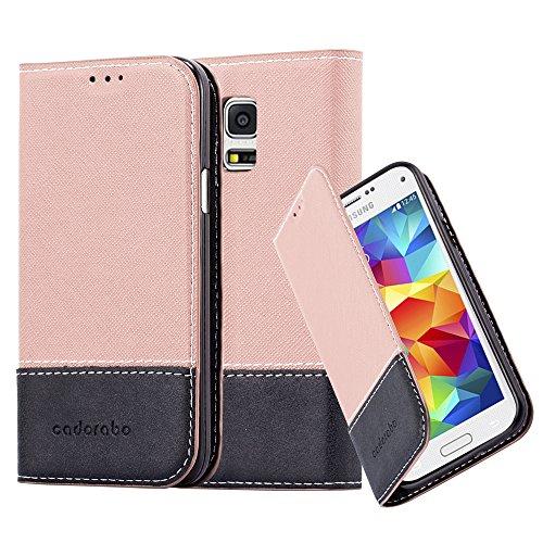 Cadorabo Hülle für Samsung Galaxy S5 Mini / S5 Mini DUOS - Hülle in ROSÉ Gold SCHWARZ – Handyhülle mit Standfunktion und Kartenfach aus Einer Kunstlederkombi - Case Cover Schutzhülle Etui Tasche Book