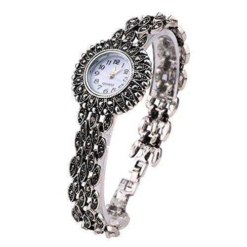Lecker Maedsche Klassische Antikstil Trachtenschmuck Armbanduhr - Dirndl Armband mit Uhr - Kristall - Strass Besetzte Jeans