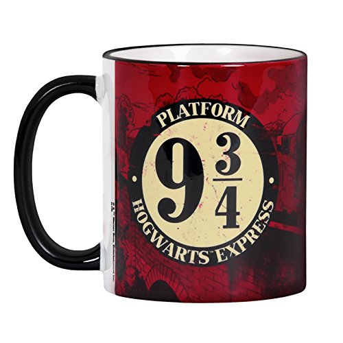 Preisvergleich Produktbild Harry Potter Tasse Gleis 9 3 / 4 Hogwarts Express Elbenwald Keramik Rot Umlaufend Bedruckt