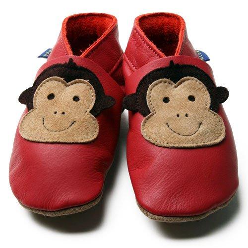 Inch Blue - 0936 L - Chaussures Bébé Souples - Cheeky Monkey - Rouge - T 20-22 cm - 12-18 mois